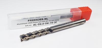 Aluminium VHM frees 6,0 mm en 75 mm lang