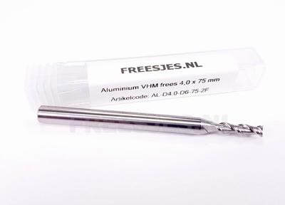 Aluminium VHM frees 4,0 mm en 75 mm lang