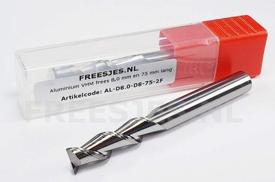 Aluminium VHM frees 8,0 mm en 75 mm lang