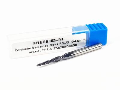 Conische ball nose frees R0.75  Ø4.0mm