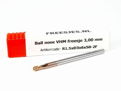 Ball nose VHM freesje 3,00 mm