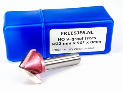 HQ V-groef frees Ø22 mm x 90° x 8mm