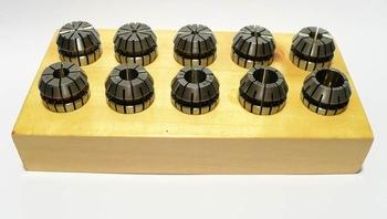 ER16 spantangen set van 10 stuks op houten blok
