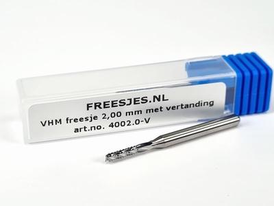VHM freesje 2,00 mm met vertanding