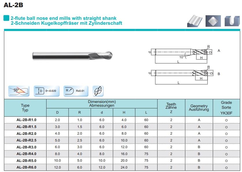 Aluminium ball nose VHM frees R2.0