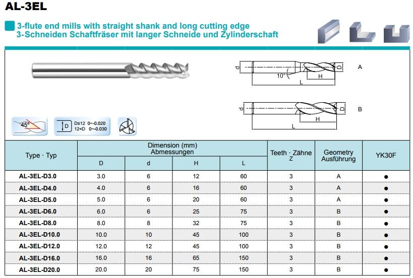 Aluminium VHM frees 4,0 mm extra lang
