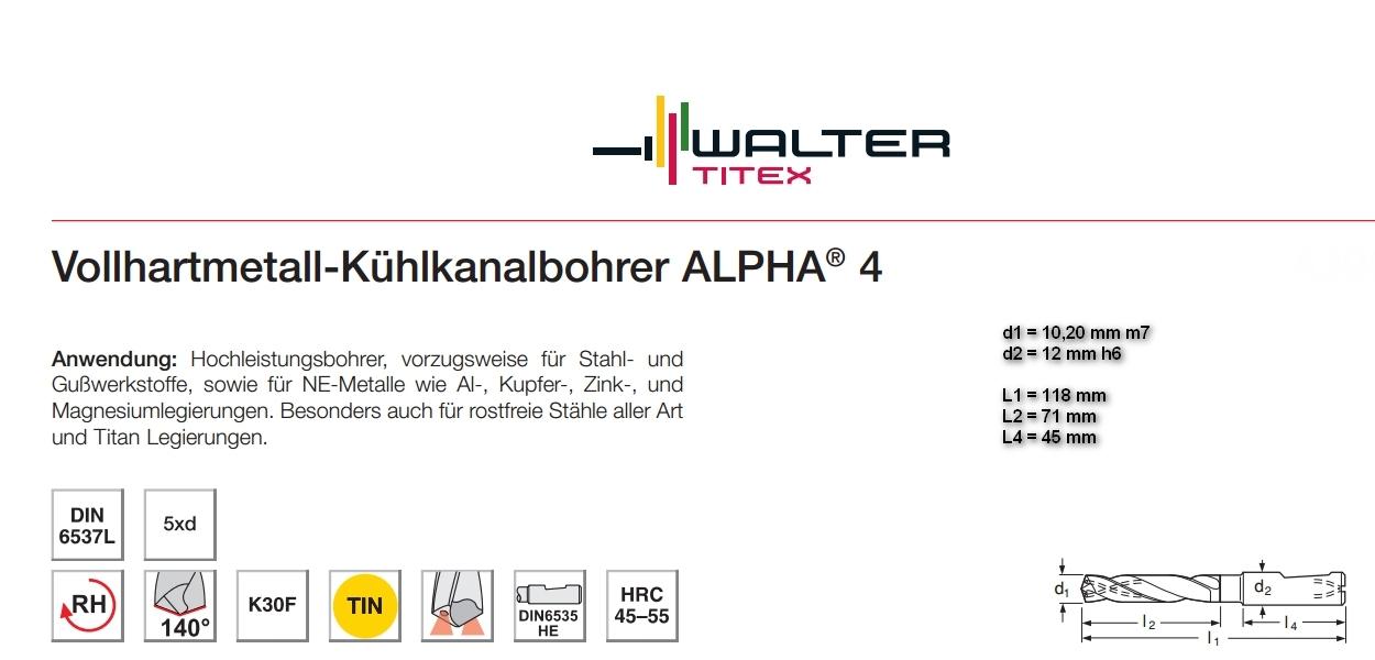 Walter TITEX Plus Ø 10,20 mm VHM boor