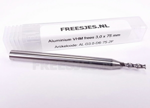 Aluminium VHM frees 3,0 mm en 75 mm lang