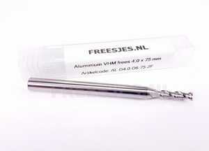 Aluminium VHM frees 4,0 mm en 75 mm lang