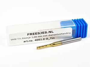 VHM freesje 2,00 mm met diamantvertanding en Tin coating