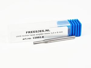 VHM rechte twee snijder frees 2,0 x 8 mm